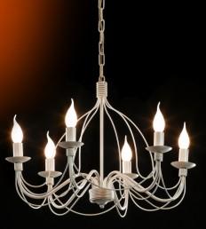 Candeliere 6 luci avorio pen. oro.